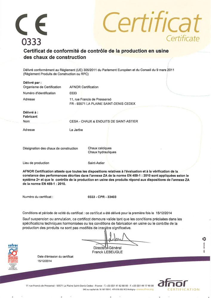 Certificate Of Conformity With European Norm EN-459