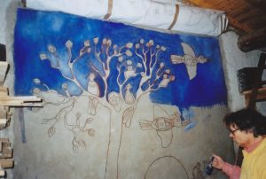 Fresco painting on Saint-Astier high calcium lime by famous artist Jean-Marc Brugeilles